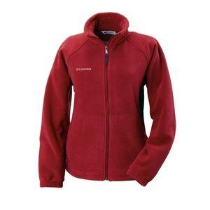 Columbia Red Fleece Zip Up Jacket Medium Spring
